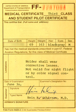 medical 3rd class and student pilot certificate